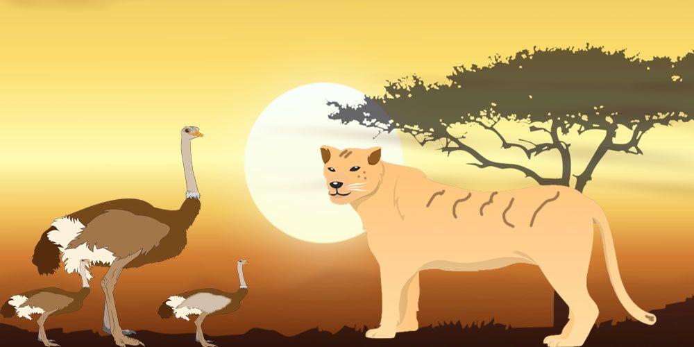 La leona y el avestruz: una fábula africana sobre la justicia para niños