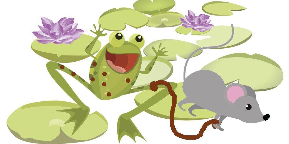 El ratón y la rana. Fábula de Esopo sobre las burlas