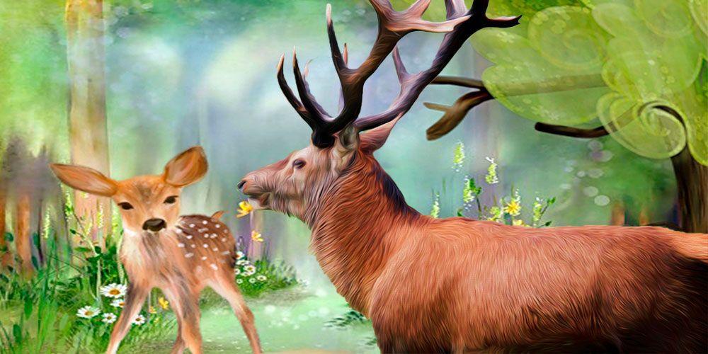 El ciervo y el cervatillo, fábula de Esopo para niños