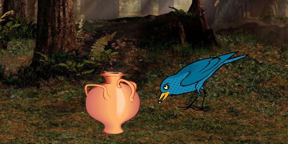 La corneja y la jarra, una fábula de Esopo sobre la perseverancia