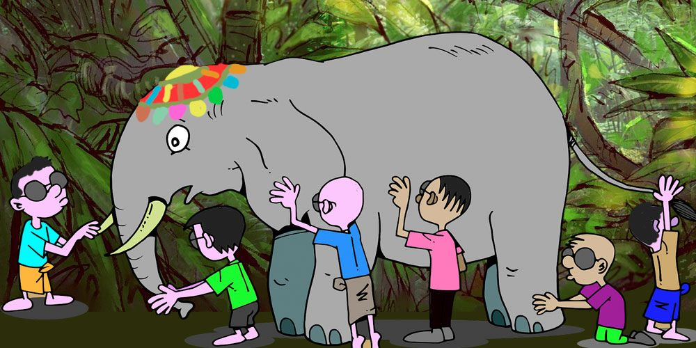 Leyenda sobre la cooperación: Los seis ciegos y el elefante