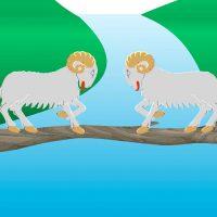 Las dos cabras. Fábula sobre la terquedad para niños