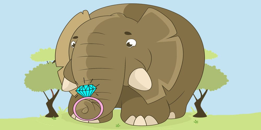 Fábula del elefante que perdió su anillo de boda