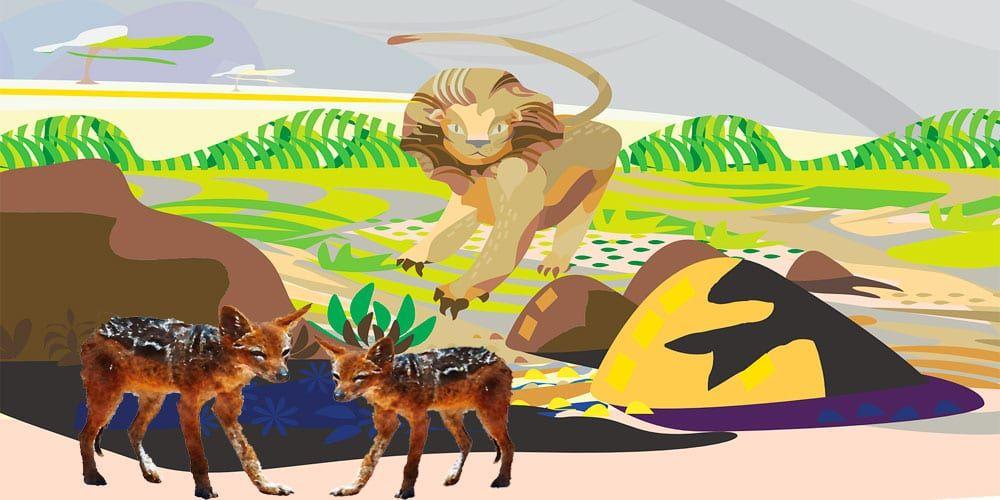 Fábula para niños sobre la astucia: El león y los chacales astutos