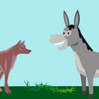 El asno y el lobo. Fábula de Esopo sobre la falta de concentración