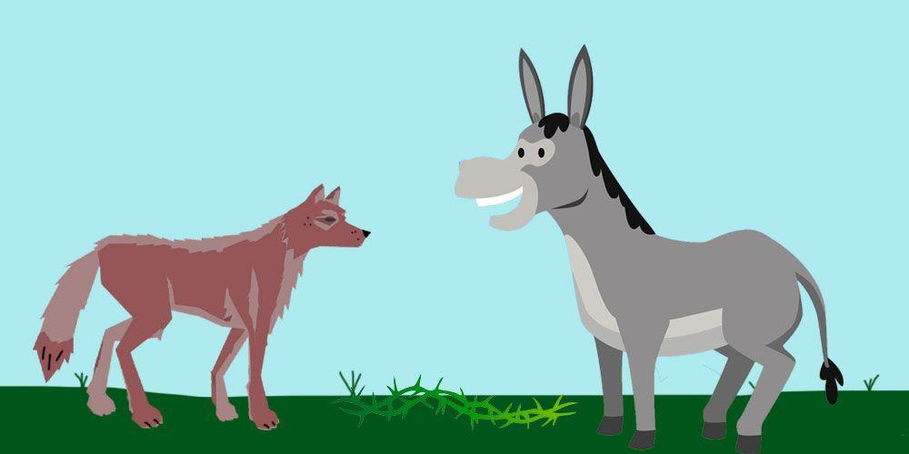 Fábula de Esopo para niños: El asno y el lobo