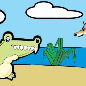 El chacal y el cocodrilo. Fábula sobre la prudencia para niños