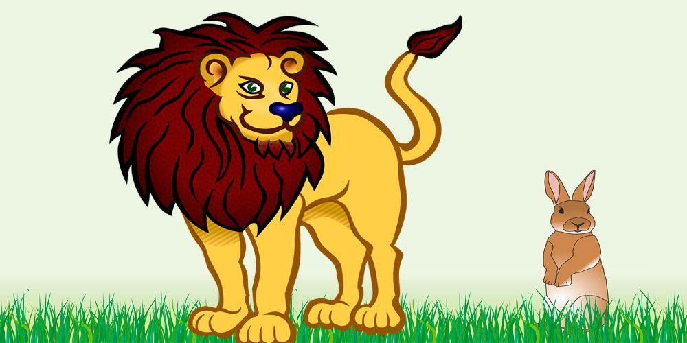 Fábula corta para niños El león y la astuta liebre