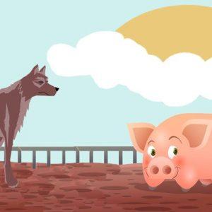 El cerdo, los corderos y el lobo. Fábula sobre la soberbia para niños