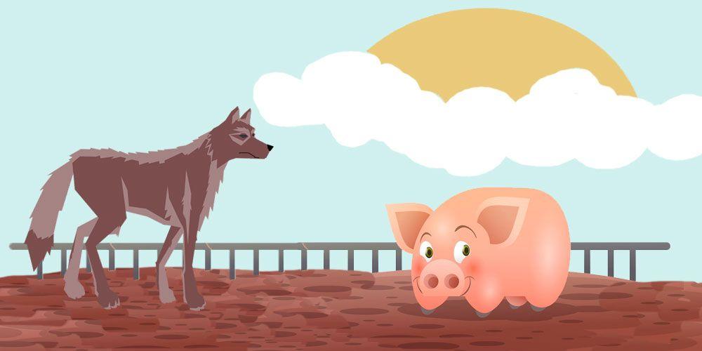 Fábula sobre la soberbia para niños: El cerrdo, los corderos y el lobo