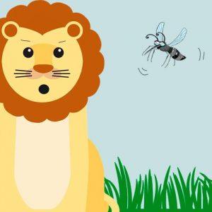 El león y el mosquito luchador. Fábula sobre la humildad para niños