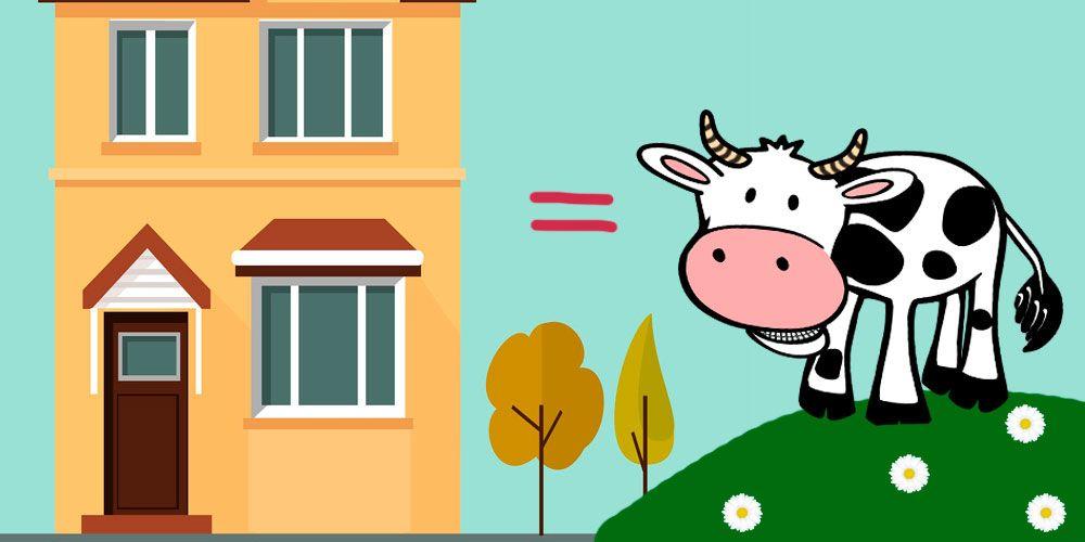 Un cuento para jugar con las palabras: Una vaca y un edificio