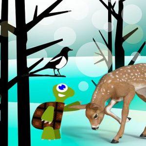 La tortuga, el gamo, el ratón y la corneja. Fábula india para niños