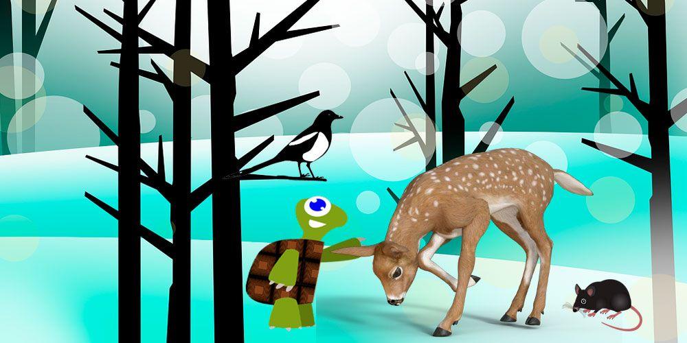 La tortuga, el gamo, el ratón y la corneja, una fábula sobre la cooperación para niños