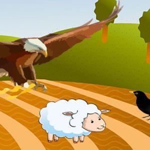 El águila, el cuervo y el pastor. Fábula de Esopo para niños