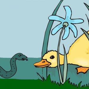 El pato y la serpiente. Fábula corta sobre la vanidad
