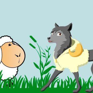El lobo con piel de oveja. Fábula corta de Esopo para niños