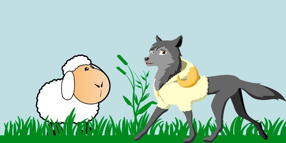 El lobo con piel de oveja, fábula de Esopo para niños